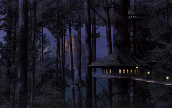 эльфов, дома, деревьях