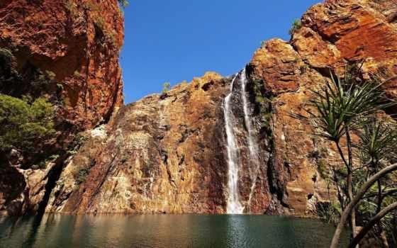 природа, австралии, австралия, небо, water, категория, водопад, пальмы, park, книга, море,