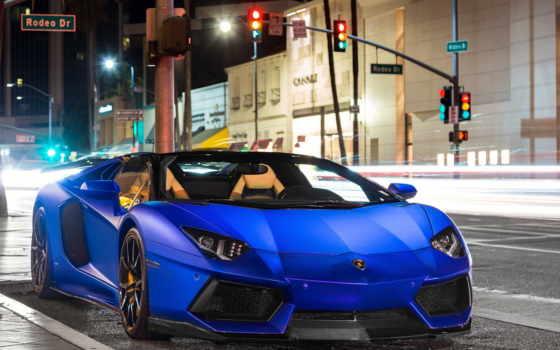lamborghini, aventador, blue, matte, roadster,
