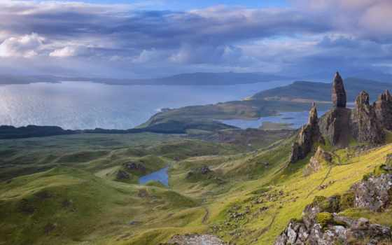storr, мужчина, skye, шотландия, isle, небо, oblaka, desktop,