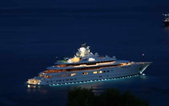 яхта, mega, dilbar, моторная, белая, супер, ночь, вертолет,