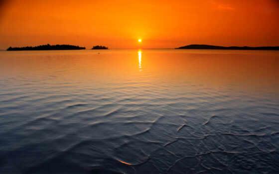 закат, горизонт, bay, sun, море, озеро, chesapeake
