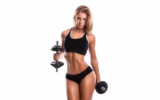 фитнес, девушка,, гантели, спорт, club, тело, глаза, волосы, sporty, workout