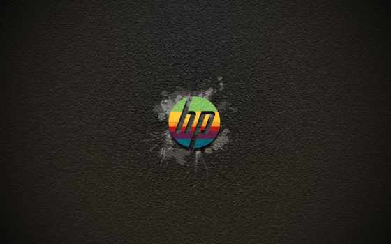 hp rainbow logo on grey background