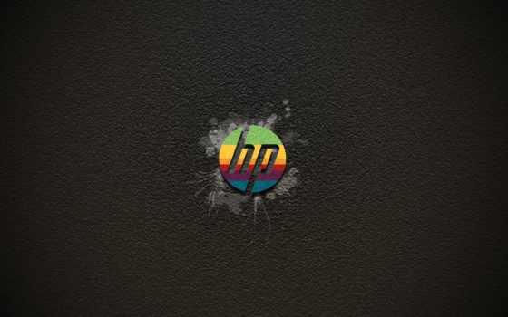hp rainbow logo on grey background