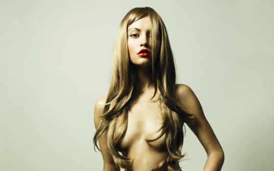 девушка, topless, волосы