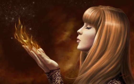 девушка, огонь, пламя