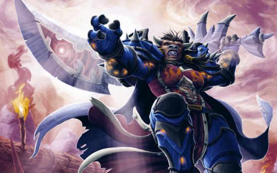 art, воин, warcraft, world, разных, мечом, игре, разрешениях, руках, таурен,