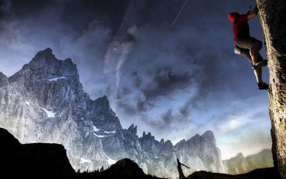 , небо, спорт, альпинист, горы