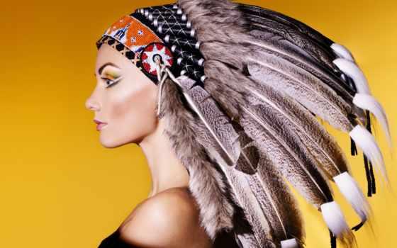 attire, девушка, перья, голова, нр, латекс, that, индеец, вас, американский, взгляд,