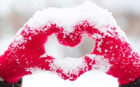 сердце, снег,