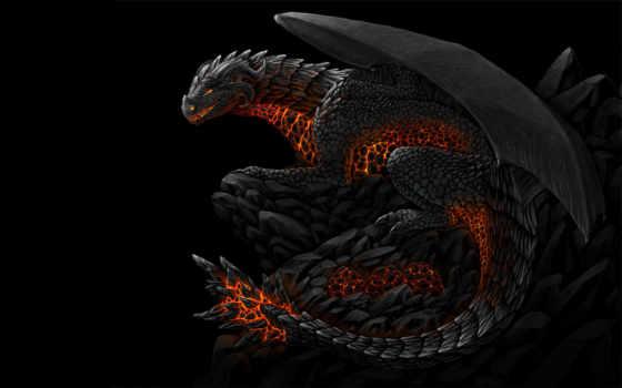 дракон, black, драконы, драконы, чешуйчатый, дракона,