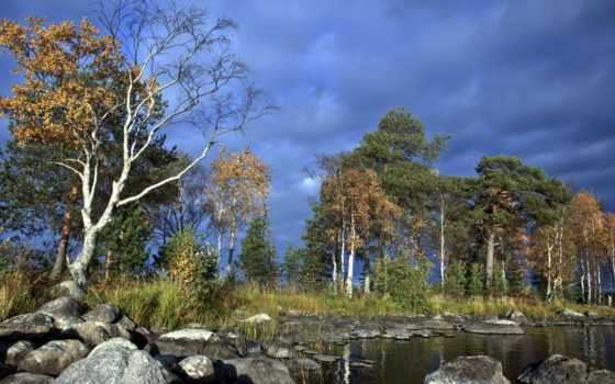 озеро, природа, небо, summer, лес, uxga, камни, расследование, усатое,