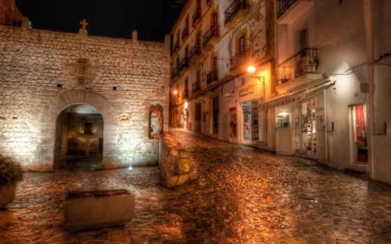 испания, ночь, ibiza, фонари, улица, hdr,