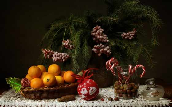 mandarin, год, new, candy, ветви, berries, орех, натюрморт, еще, life