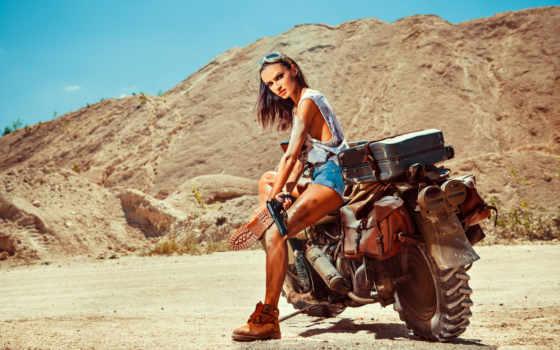 женщина, мотоцикл, девушка, пистолет, интересно, biker