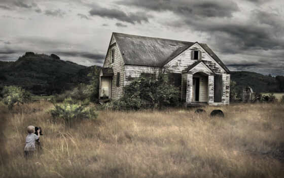 house, бросок, фон, fotografirovat, ребенок, старый, boy, поле, небо, new, see