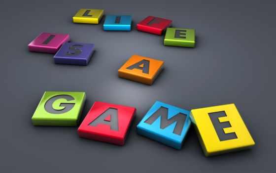 игра, жизнь, серый, разноцветные, буквы, картинка, надпись,