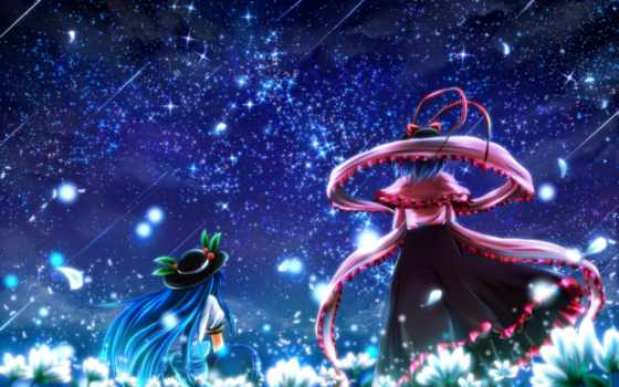 touhou, hair, iku, nagae, hinanawi, tenshi, girls, anime, blue, games, flowers, night, video, hat, nekominase, with, tags, stars, flower, long, artist, highres, team, short, similar,