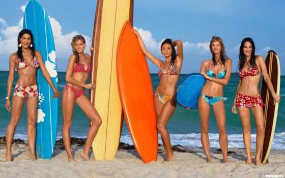 девушки, пляже, девушка