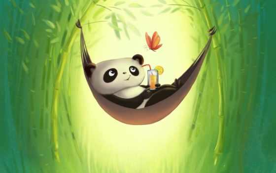 risunok, панда, бамбук, отдых, гамак,