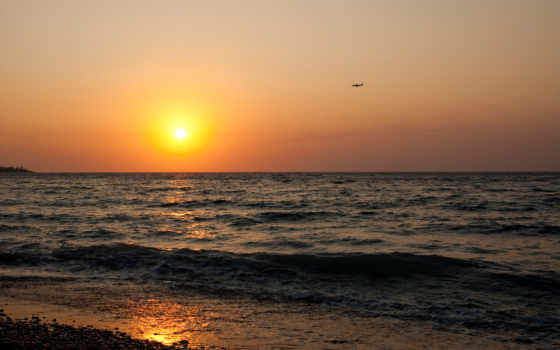 закат, море, sun