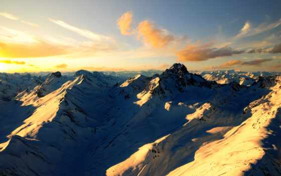 гора, рассвет, горы
