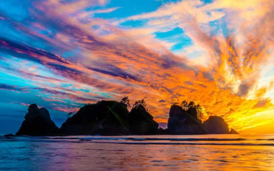 красивые, природа, море, закат, красивый, небо, солнца, дней, fonday, остров,