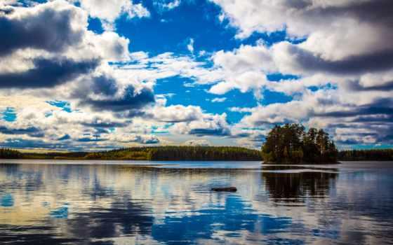 финляндия, озеро, clouds