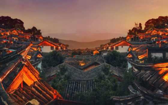 китаянка, город, ночь, панорамы, china, река, shanghai, крыши, крыша, огни,