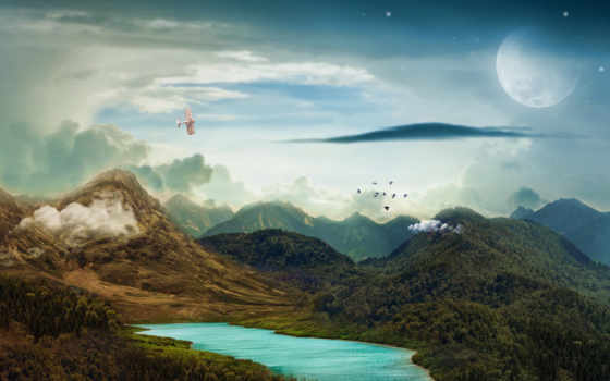 surreal, landscape, mountains, озеро, free, луна, ночь, гора, fantasy,