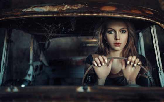 девушка, взгляд, машина, web, damian, город, photography, live, piórko, portrait,