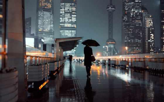 дождь, город, ночь, зонтик, коллекция, красивый, женщина, card