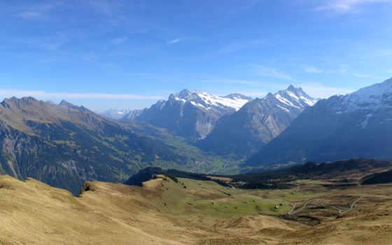 горы, панорама, небо