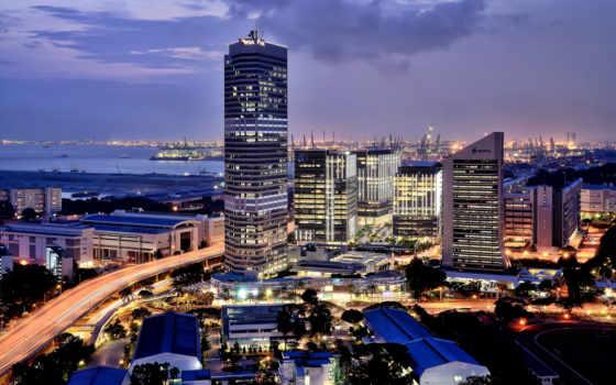 singapore, город, огни
