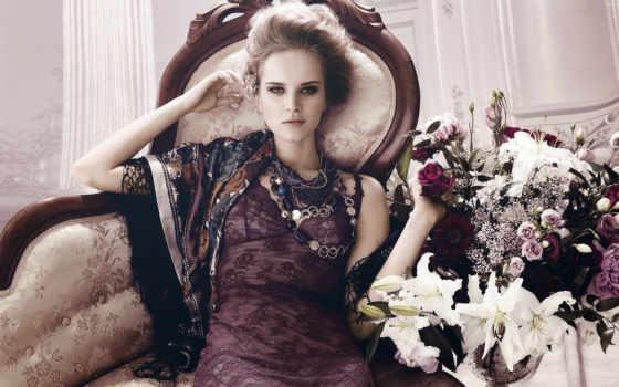 девушка, букетом, цветов, сидит, lady, букет, ретро, цветы, разных, платье,