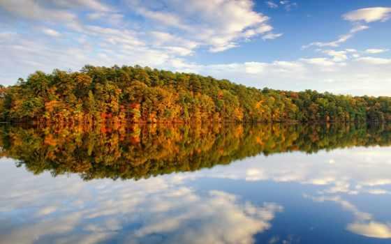 пейзажи -, осенние, осень, озеро, pictures, отражение, trees,