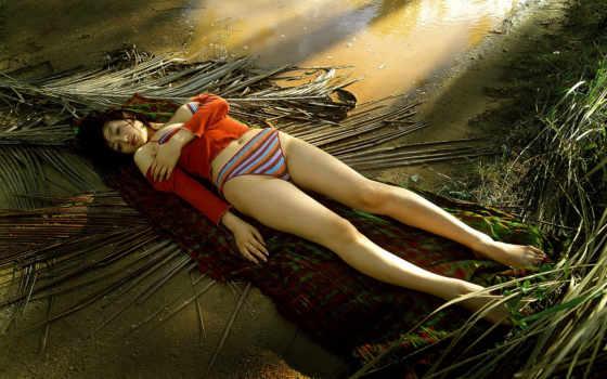 devushki, девушка, пальмовых, банка, листьев,