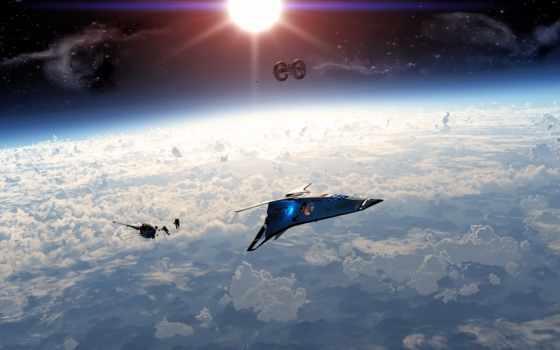 корабль, cosmic, будущее, орбита, spaceship, planet,