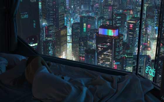 cyberpunk, город, art, futuristic, окно, девушка, living