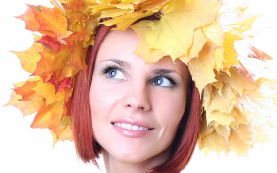 листья, девушка