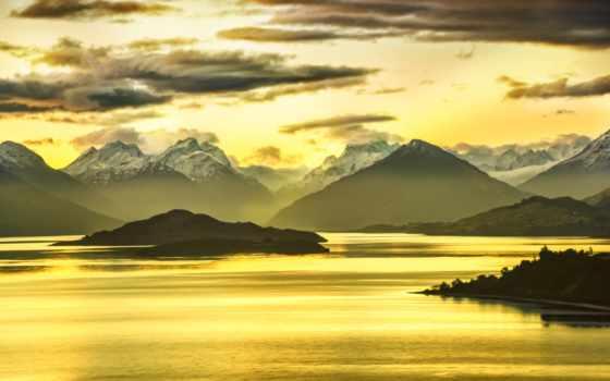 landscape, новая, zealand, yellow, природа, everyone, oblaka, небо, counseling, горы,