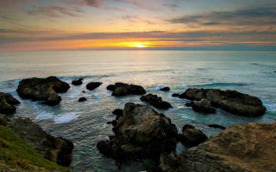 природа, скалы, море, рифы, закат, sun, горизонт, берег, landscape, морские,