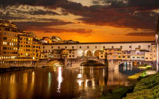 восход, italy, огни, florence, venice, buildings, город, картинка, ночь, vecchio, ponte,