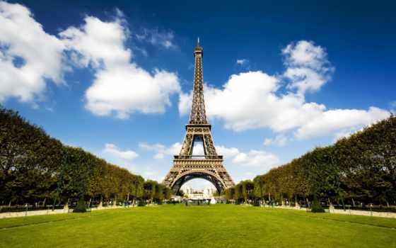 башня, эйфелева, eiffel, turret, париж, башни, город, взгляд,