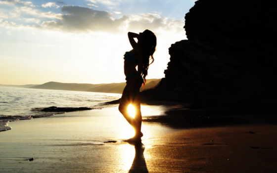 devushki, пляже, девушка, красивые, моря, вконтакте, море, стоит, закате, sun,