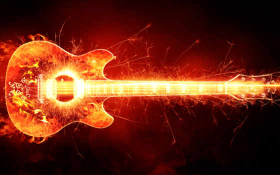 гитара, горящая, пламя, one, click,