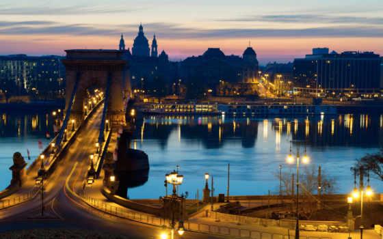 ночь, budapest, улица, hungary, огни, bridges, изображение, rivers, cities,
