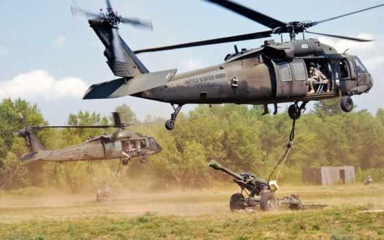 вертолет, hawk, black, artillery, армия, airlift, гаубица, поле