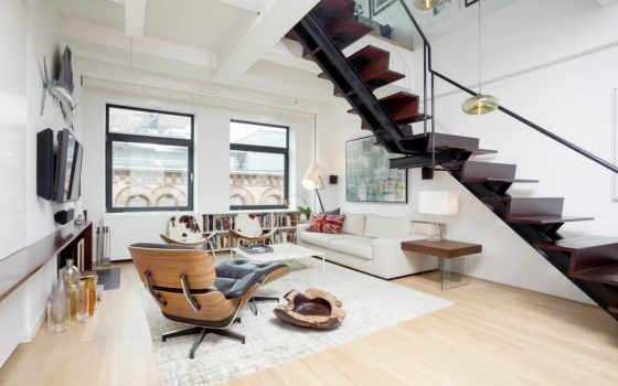 ,квартира, brickundergroun, лесница, кресло, комната